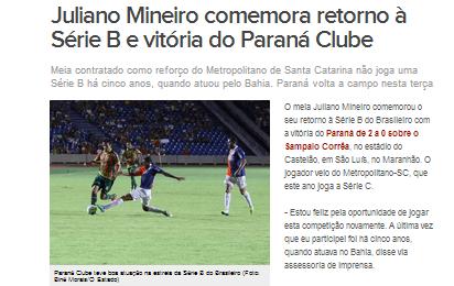 Globo Esporte Destaca Retorno à Série B De Juliano Mineiro